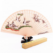 Eventail en bois avec illustration traditionnelle chinoise