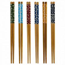 Baguettes japonais couleur bois motifs fleurs 1 paire