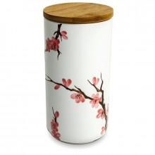 Grande boite à thé Sakura avec couvercle en bambou