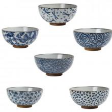 Coffret 6 bols bleus Japonais 11.5cm