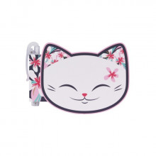 Carnet tête de chat blanc avec stylo  MANI