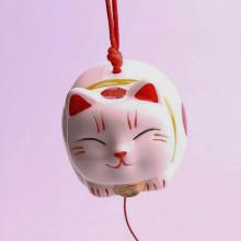 Clochette à vent maneki neko en porcelaine