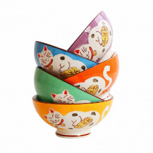 Coffret de 5 bols chat Maneki