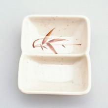 Coupelle sauce plastique rectangulaire Bambou