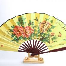 Éventail Chinois en bois et tissu satiné imprimé