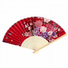 Éventail Fleur de pivoine rouge 21cm