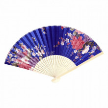 Éventail Fleur de pivoine bleu 21cm