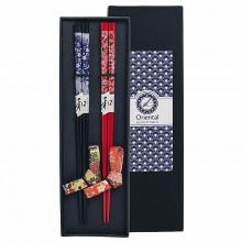 Coffret baguettes avec reposes baguettes assortis noir et rouge avec motifs fleurs