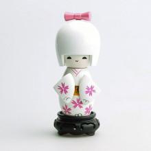 Grande poupée kokeshi blanche fleurs chrysanthème blanches