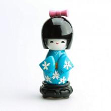 Grande poupée kokeshi bleue chrysanthème Blanche
