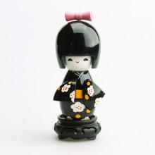 Grande poupée kokeshi noir fleurs blanches de prunier