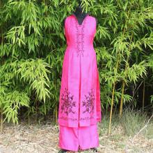 Ensemble tunique sans manche et pantalon rose