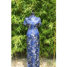 Robe longue de style Asiatique bleue foncée
