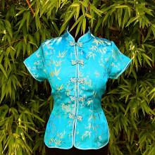 Chemisier bleu style Asiatique