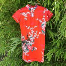 Robe longue enfant rouge motif fleur et Grue