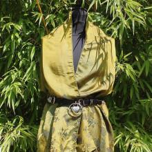 Foulard vert reflet kaki motif bambou
