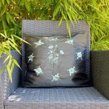 Housse de coussin vert motif floral