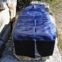 Chemin de table Caligraphie beu/bleu clair