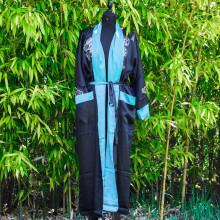 Kimono réversible motif dragon et calligraphie bleu ciel ou noir Taille unique