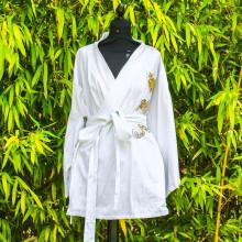 kimono court blanc motif dragon Taille unique