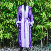 Kimono réversible broderie dragon violet foncé ou violet clair Taille unique