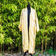 Kimono réversible couleur or broderie dragon et calligraphie chinoise