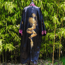 Kimono violet ou noir réversible broderie dragon Taille unique