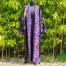 Kimono réversible noir calligraphie et dragon Taille unique