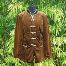 Veste en velours marron boutonnières en tissu