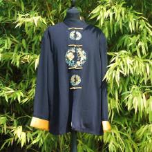 Veste noir sceau fleuri jaune