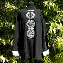 Veste noir motif et sceaux traditionnels argentés