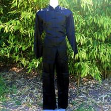 Ensemble tunique et pantalon noir motifs traditionnels