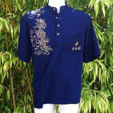 Tee-shirt boutonné bleu avec dragons