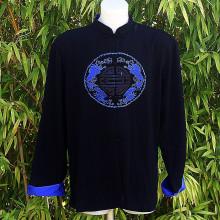 Tunique noire dragon et sceau bleu roi
