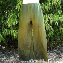 Pantalon satiné coloris vert anis