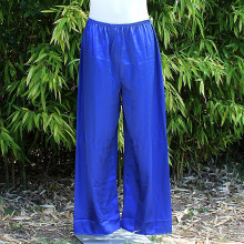 Pantalon satiné coloris bleu foncé