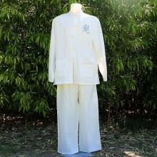 Ensemble tunique et pantalon blanc floqué dragon argenté