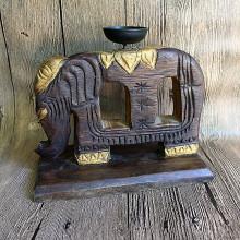 Bougeoir éléphant en bois