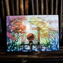 Carte postale japonaise - Torii et Geïsha