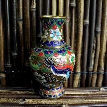 Vase chinois cloisonné floral - 15 cm