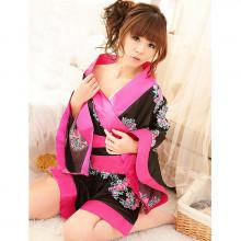Kimono Fleur de Pivoine noir et rose