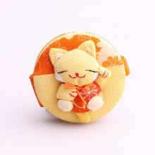 Miroir maneki neko jaune/orange fleurs de...