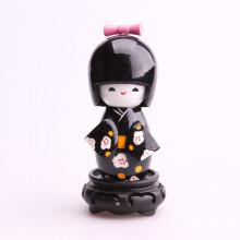 Moyenne poupée kokeshi noir motifs fleurs...