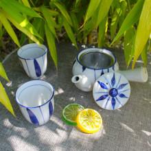 Service à thé japonais bleu & blanc théière Kyusu - 2 tasses