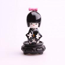 Petite poupée kokeshi noir  fleurs...