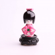 Petite poupée kokeshi rose fleurs blanches...