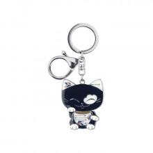 Porte clef chat acier noir et blanc MANI