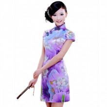 Robe chinoise (Qipao) lotus violet