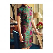 Robe chinoise (Qipao) en lin Parfum...