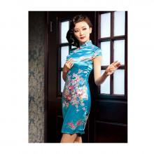Robe chinoise (Qipao) Pivoine bleue